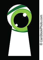 dall'aspetto, occhi, verde