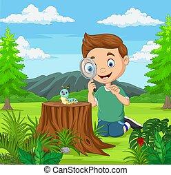dall'aspetto, ragazzo, poco, magnificatore, giardino, bruco, usando