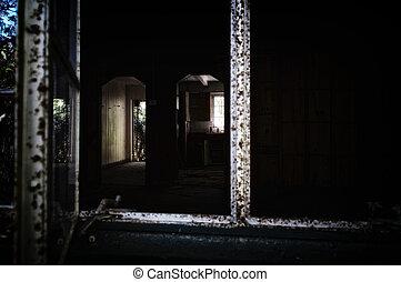 dall'aspetto, scuro, costruzione, abbandonato