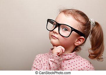 dall'aspetto, sognare, ragazza, capretto, far male, occhiali