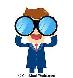 dall'aspetto, uomo affari, binoculare, attraverso