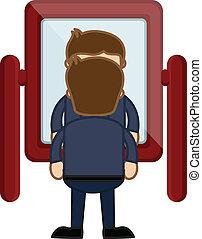 dall'aspetto, uomo, cartone animato, specchio