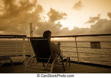 dall'aspetto, uomo, fuori, mare, seduta