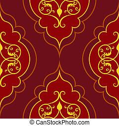 damasco, semplice, pattern., seamless, vettore, rosso