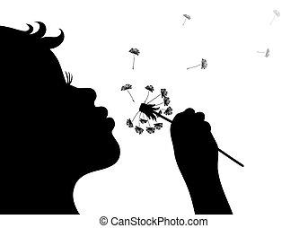 dandelio, ragazza, soffiando, silhouette