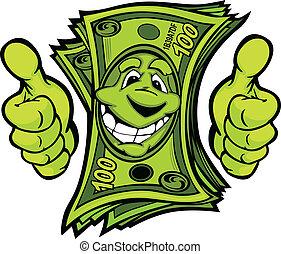 dando denaro, su, illustr, vettore, pollici, mani, cartone animato, gesto
