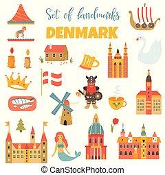 danese, set, locali, simboli, segno confine famoso