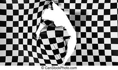 danneggiato, bandierina checkered