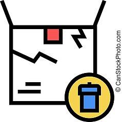 danneggiato, colorare, illustrazione, scatola, icona, segno, vettore