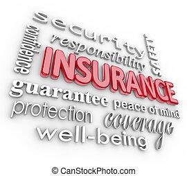 danno, parola, collage, proteciton, sicurezza, assicurazione, 3d
