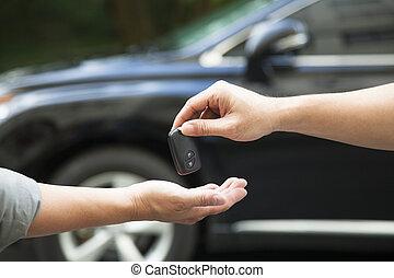 dare, automobile, ricevimento, chiave, mani