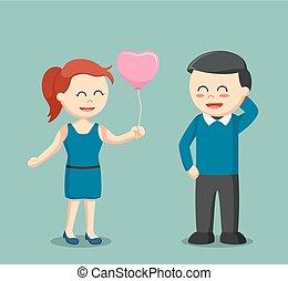 dare, ragazza, amore, balloon, uomo