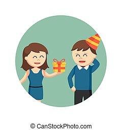dare regalo, fondo, ragazza, cerchio, uomo