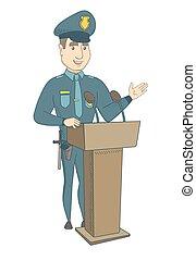 dare, tribune., discorso, giovane, poliziotto