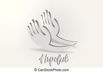 dare, vettore, logotipo, mani, speranza, carità