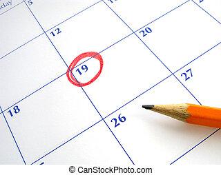 data, calendar., circondato