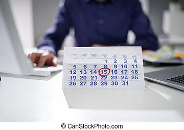 data calendario, businessperson, marcatura, importante