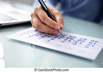 data, donna d'affari, marcatura, calendario