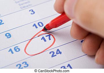 data, marcatura, 17th, calendario, mano