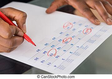 data, persona, marcatura, importante, calendario