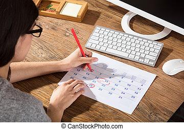 data, primo piano, donna, circonduzione, calendario