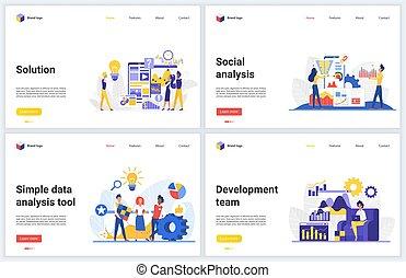 database, cartone animato, moderno, analisi, media, appartamento, tecnologia, servizio, sviluppo, sociale, analizzare, vettore, dati, attrezzi, marketing, tecnologia, illustrazioni