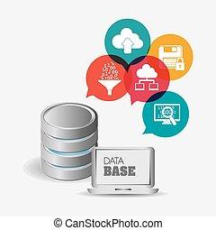 database, vettore, illustration., disegno