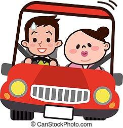 datazione, coppia, guidare, giovane