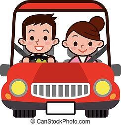 datazione, coppia, guidare