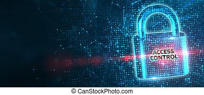 dati, concept., affari, controllo, sicurezza, cyber, protezione, tecnologia, intimità, accesso