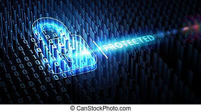 dati, concept., intimità, cyber, tecnologia, 3d, protezione, illustrazione, sicurezza, affari