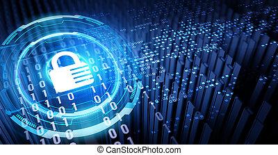 dati, concept., intimità, cyber, tecnologia, illustration., 3d, protezione, sicurezza, affari