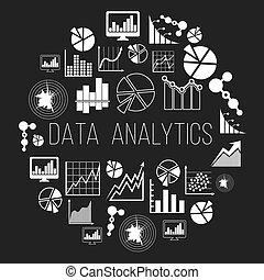 dati, datum, etichetta, analytics, vettore, informatics, distintivo, o