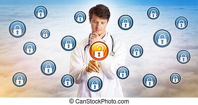 dati, giovane, sbloccando, dottore, ciberspazio, file