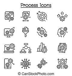 dati, magro, processo, icona, linea, stile, set, analisi