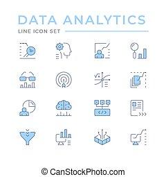 dati, set, icone, analytics, linea, colorare