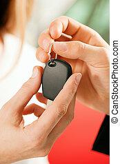 dato, donna, essendo, automobile, -, chiave, acquisto