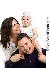 daughter., coppia, giovane, loro, bambino, felice