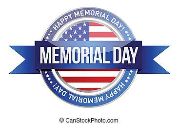 day., commemorativo, bandiera, ci, sigillo