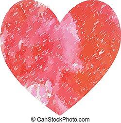 day., isolato, acquarello, paint., cuore, vettore, illustrazione, valentines, fondo., rosso