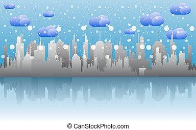 day., nuvoloso, neve, orizzonte, cityscape