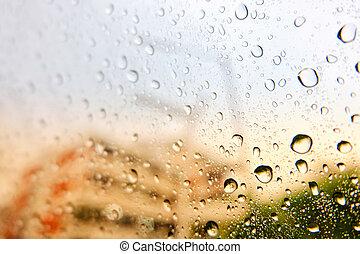 day., piovoso, automobile, vetro acqua, gocce