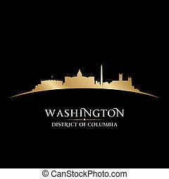 dc, sfondo nero, orizzonte, città, washington disegnano