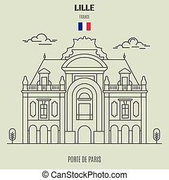de, parigi, lille, icona, punto di riferimento, porte, france.