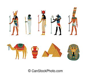 dea, egitto antico, dii, illustrazione, simboli, set, culturale, vettore