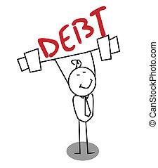 debito, uomo affari, forte