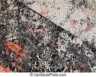 decadere, croce, vernice, nero, splatters, bianco rosso