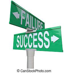 decidere, buono, successo, indicare, essendo, bidirezionale, destino, segno, symbolizing, cattivo, strada, verde, fallimento, fra, incrocio, o, risultato
