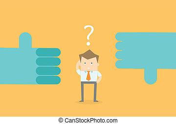 decisione affari, carriera, fare, confondere, opzioni, uomo