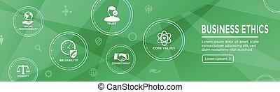 decisione, affari, integrità, bandiera, onestà, impegno, etica, set, web, icona